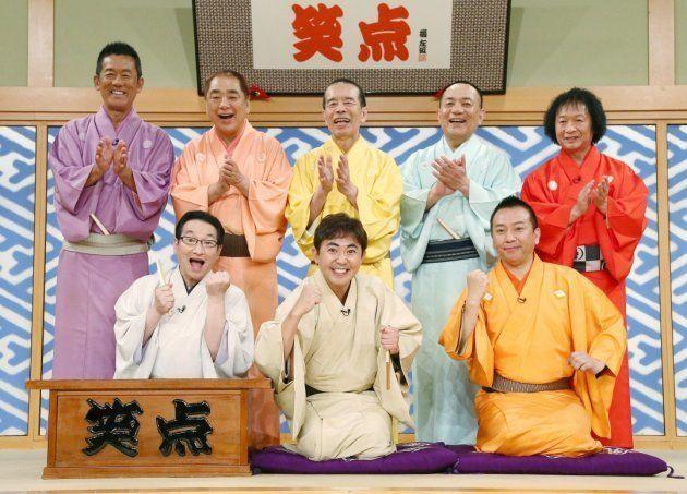 「笑点」の大喜利メンバー。前列中央は新加入の林家三平さん。同左は初司会を終えた春風亭昇太さん=2016年5月29日、東京都千代田区