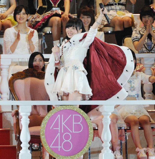 第7回AKB48選抜総選挙で1位の指原莉乃さん=2015年6月6日