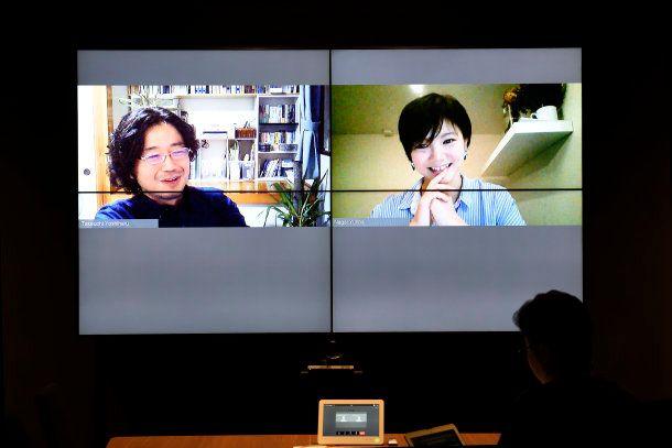 新潟中心の生活を送っている竹内さん(左)と、パリで暮らしている永井さん(右)。どちらもリモートワークをしているサイボウズ式編集部員です。この取材も、ライターの方がいらっしゃった日本橋オフィスと、新潟・パリをテレビ会議システムでつないだ、「リモート対談」という形で実現しました。