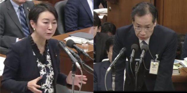 山尾志桜里氏(左)と警察庁・田中長官官房審議官(右)