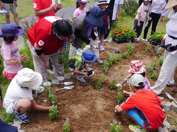 7月に実施した「西会津ワクワク子ども塾」では、西会津町の親子を相馬市へ招き、花壇に花の苗を植えました(2017年7月22日)