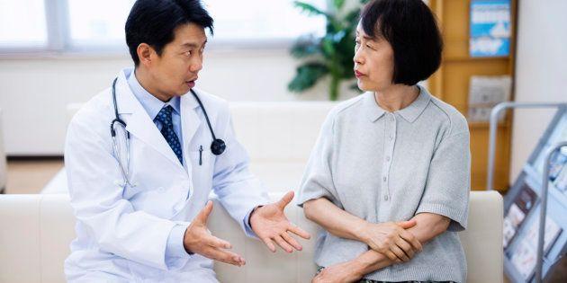 japanese doctor explaining senior