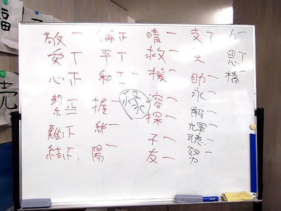 国際協力と聞いて思い浮かぶ漢字は?生徒の皆さんからたくさんの漢字が出てきました(2018年3月8日)