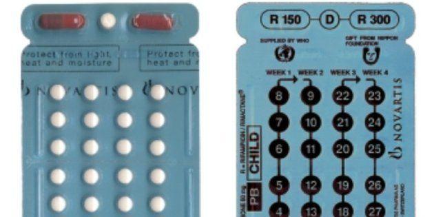 1か月分の服用量が1枚のブリスターパックに包装されているハンセン病の治療薬。