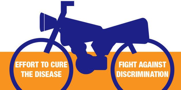 前輪は病気を治すこと、後輪は社会的差別とスティグマと闘うことを表している。