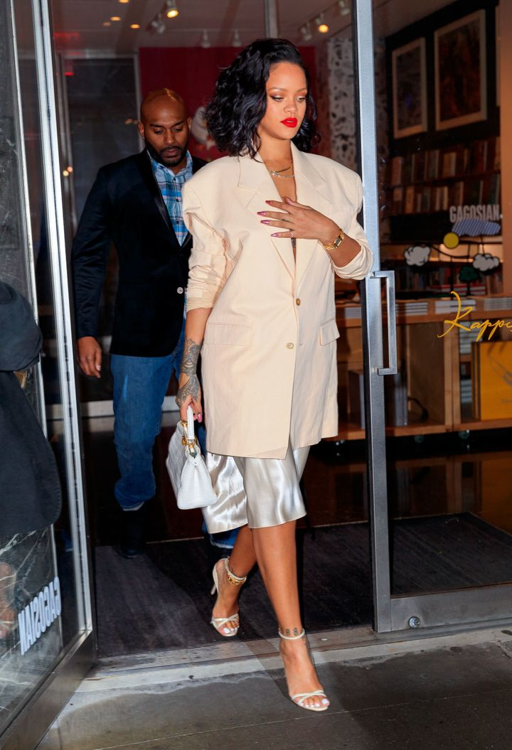 Rihanna goes to dinner at Kappo Masa on Jan. 30, 2019, in New York City.