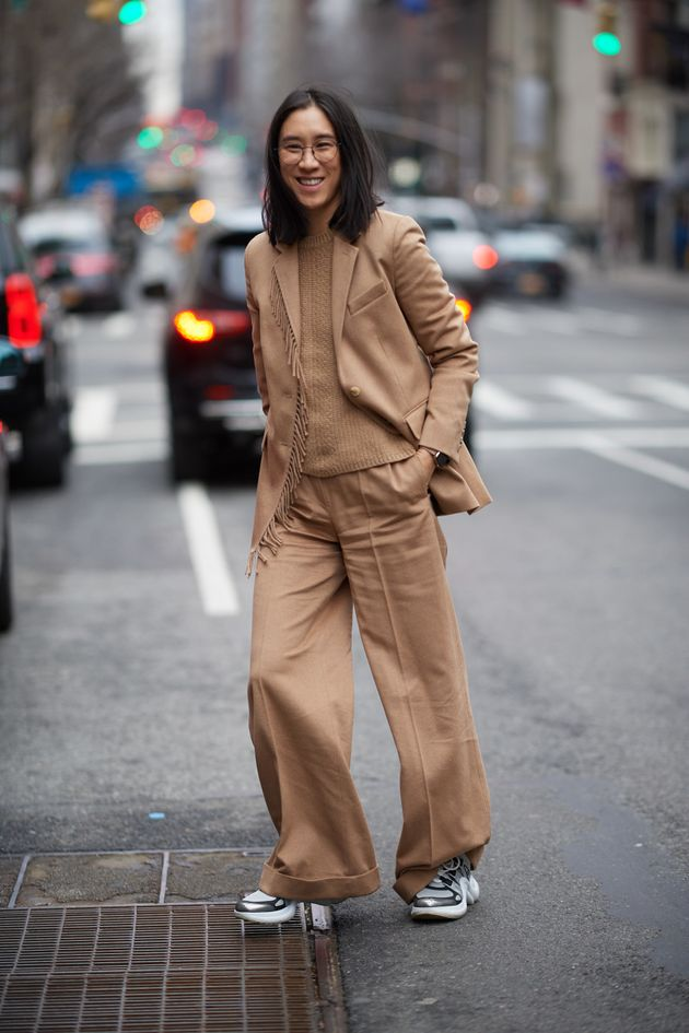 Eva Chen photographed at New York Fashion Week, February