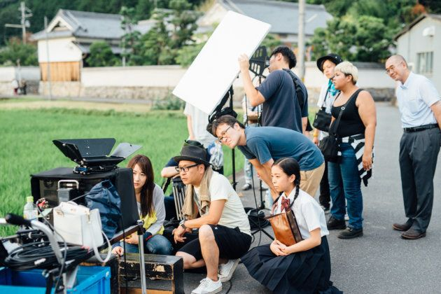 「祭りのあと」の撮影現場=奈良県高取町