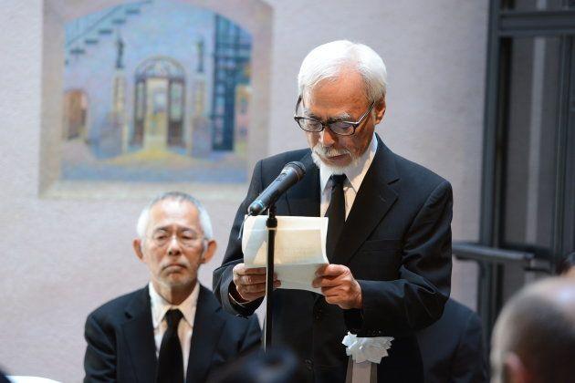 追悼の言葉を述べる宮崎駿監督=2018/05/15・三鷹の森ジブリ美術館