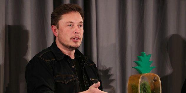 Elon Musk speaks at a Boring Company community meeting in Bel Air, Los Angeles, California, U.S. May...