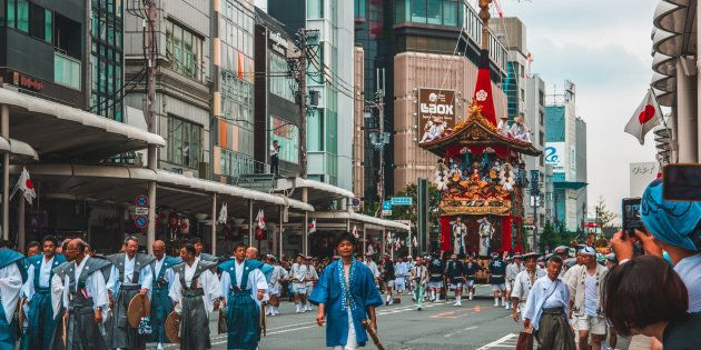 KYOTO, JAPAN - JULY 17, 2017: Gion Matsuri Floats are wheeled through the city in Japans most famous