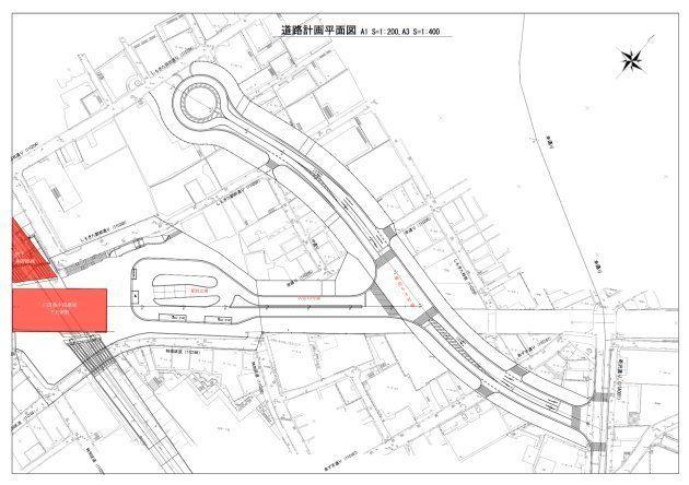 下北沢の中心部を貫く、補助54号線と区道10号線と駅前広場。しかし、補助54号線の用地買収はあまり進んでいない。