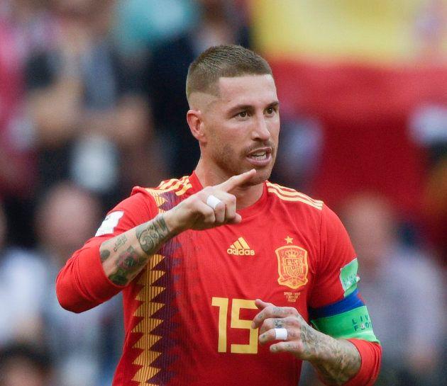 ワールドカップ決勝トーナメントでロシアと対戦するスペインのセルヒオ・ラモス=7月1日、モスクワ