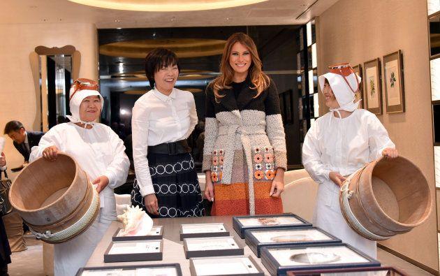 安倍昭恵さんと「ミキモト銀座4丁目本店」を訪れたメラニア夫人