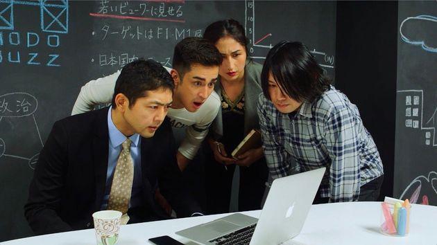 左から、松崎悠希、辛源、コリンズユリエ、倉持哲郎