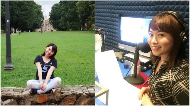 左:ノースカロライナ大学のキャンパスにて、真奈美さんの最後の日に撮った一枚。右:全米ラジオ「さくらラジオ」のDJを担当していらっしゃる真奈美さん