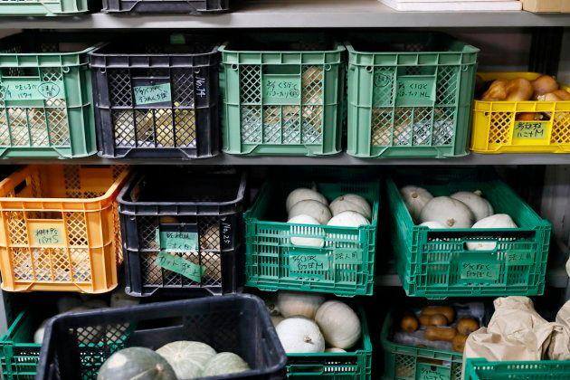 坂ノ途中本社1階では、野菜の出荷作業が行われている。ケースごとに各農家さんから届いたさまざまな野菜が収められています。