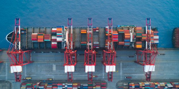Shanghai,China-Nov 26,2017:aerial view of container ship parking at Yangshan Shanghai Deepwater Container...