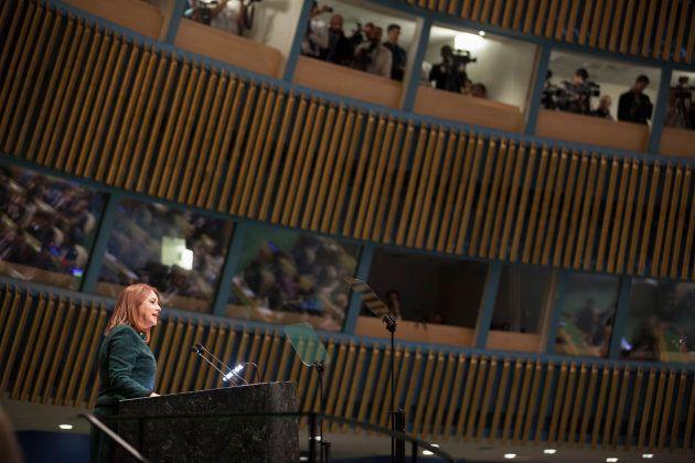 第73回国連総会の一般討論で演説を行うマリア・フェルナンダ・エスピノサ・ガルセス国連総会議長