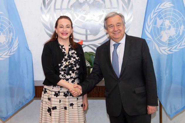 第73回国連総会議長に選任されたマリア・フェルナンダ・エスピノサ・ガルセス氏と会見するグテーレス事務総長