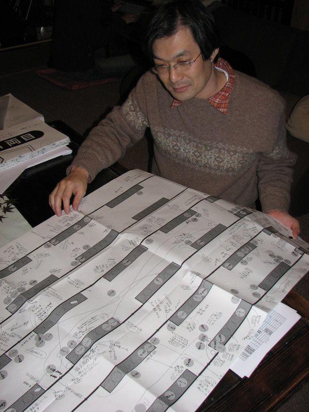 小椋さんらが作成した脱線車両の乗車位置記録。2007年2月4日撮影