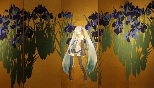 もしも伊藤若冲が「初音ミク」を描いたら…。日本画とアニメの時空を超えたコラボが尊すぎる。