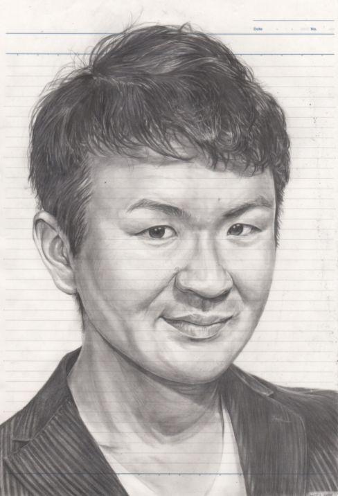 野村一晟さんの自画像。HBの鉛筆で書いた細密画も得意だ