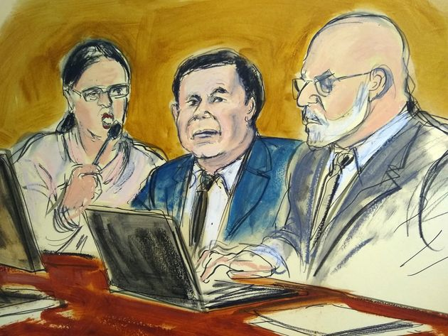 A court sketch from the trial with El Chapo