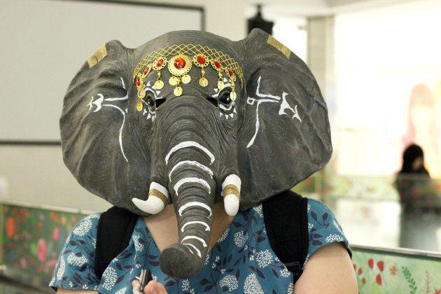 象のお面をかぶる人も...。インド...。