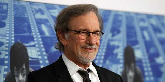Director Steven Spielberg poses at the premiere of the HBO documentary