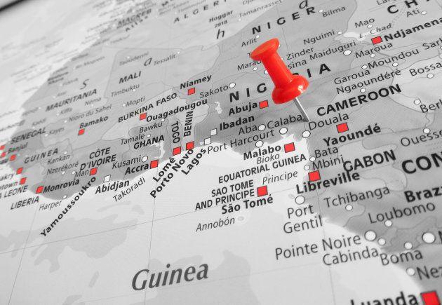 カメルーンの地図(赤いピンの地域)