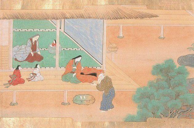 幼子を見つける竹取の翁(土佐広通、土佐広澄・画)
