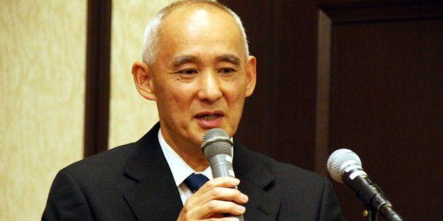 講演する円谷英明さん(5月25日撮影)