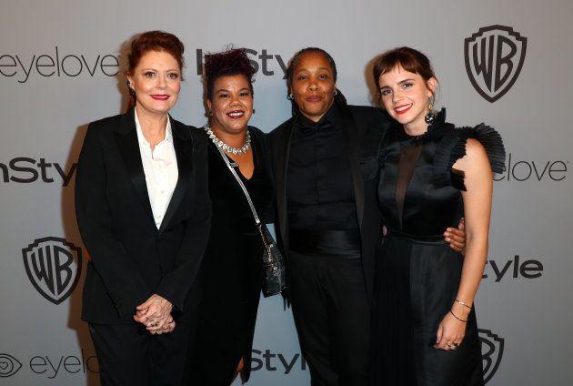 性暴力やセクハラに対抗する意思表示のために、黒い洋服を身につけてゴールデン・グローブ賞授賞式に登場した女優ら。