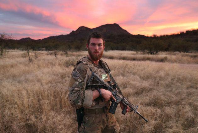 PIMA COUNTY, AZ - NOVEMBER 16: Civilian paramilitary volunteer James, 24, for Arizona Border Recon (AZBR),...