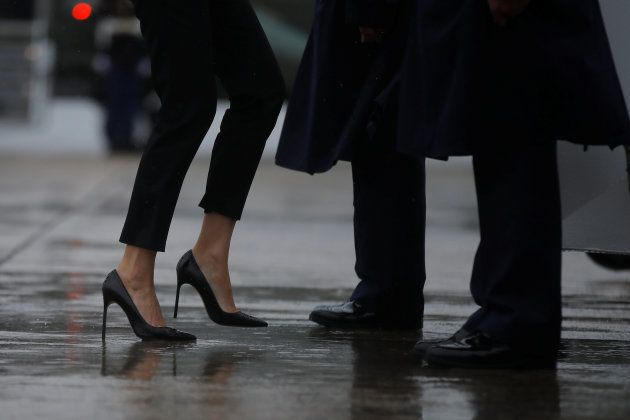 First lady Melania Trump's shoes are seen as she boards Air Force One with U.S. President Donald Trump...