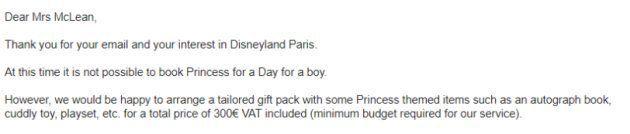 ディズニーランド・パリ、「1日プリンセス」体験への男の子の参加を拒否⇒母親が怒りの抗議