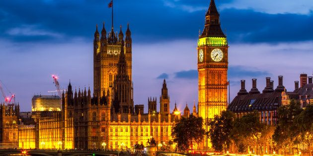 Houses of Parliament at night , Westminster, London,