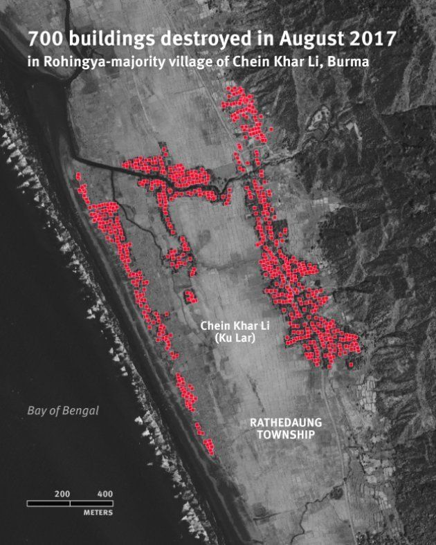 Map locating 700 buildings destroyed in August 2017 in the Rohingya-majority village of Chein Khar Li,...