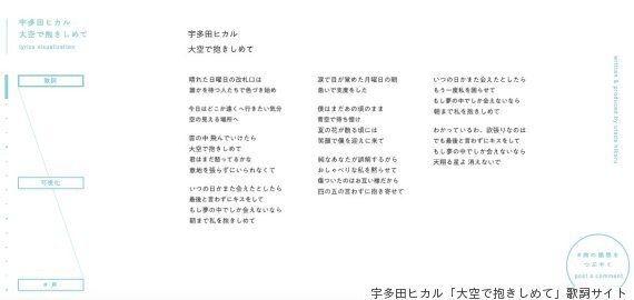 宇多田ヒカルの新曲「大空で抱きしめて」特設サイトが素敵 好きな歌詞を「投稿」したら...