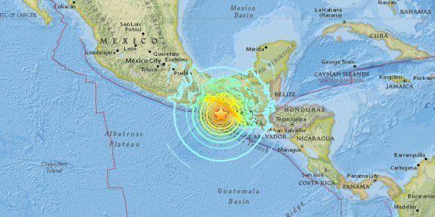 アメリカ地質調査所(USGS)が発表した震源地