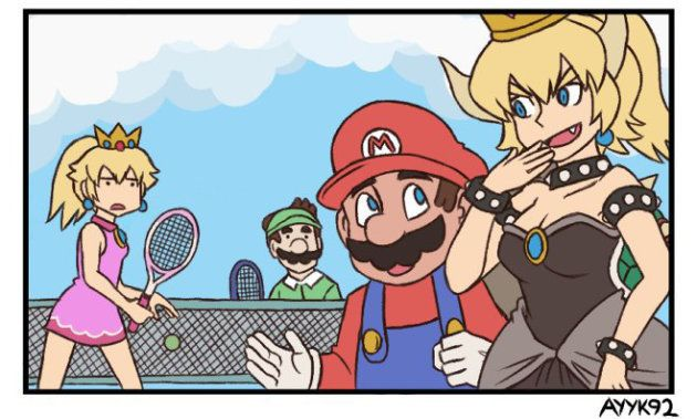haniwaさんが投稿した漫画に出てくる、女性キャラに変身したクッパ(右端)