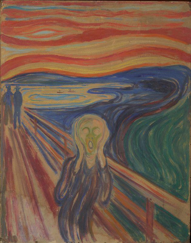 エドヴァルド・ムンク作 テンペラ・油彩画の「叫び」(1910年?)