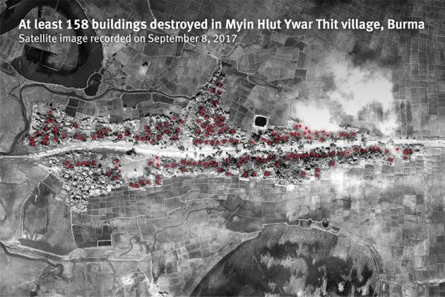 Human Rights Watch released new satellite imagery and sensory data showing that 62 villages in northern...