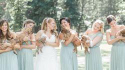花嫁と付添人たちは、ブーケの代わりに子犬を抱きしめた。