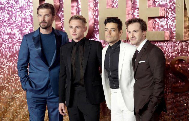 「ボヘミアン・ラプソディ」でクイーンのメンバーを演じた4人。左からグィリム・リーさん、ベン・ハーディさん、ラミ・マレックさん、ジョー・マッゼロさん=2018年10月23日、ロンドン
