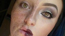 「化粧が濃すぎる」そんな批判に、女性は半顔メイクで応えた(画像)