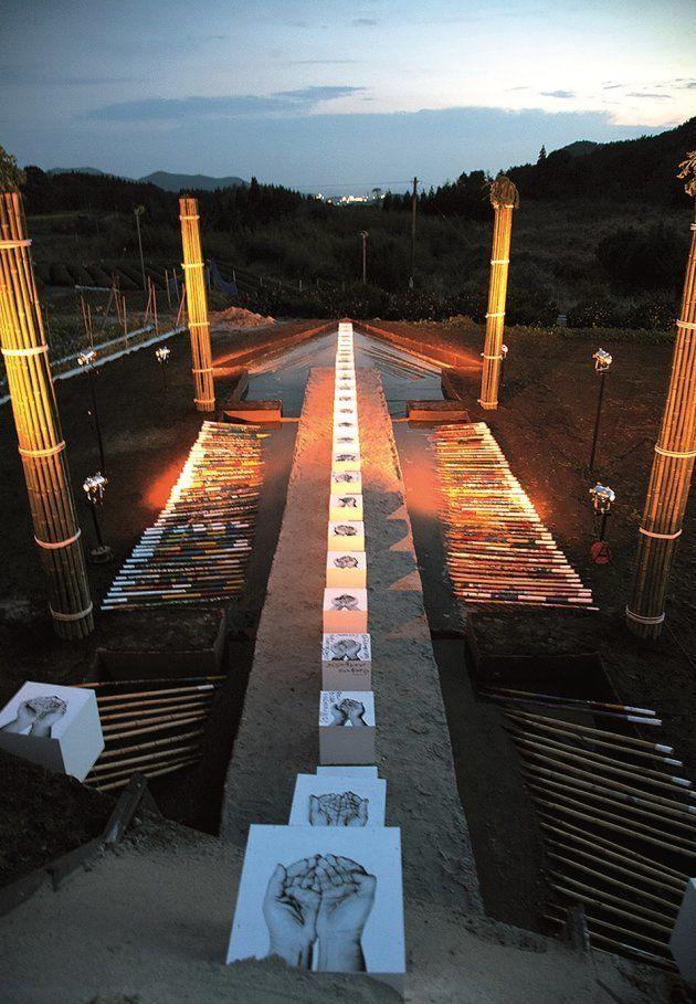 鹿児島・枕崎の「地球の家」。平均年齢70歳という木口屋集落から「集落を丸ごとアートに」という依頼を受けて制作された(2011年)