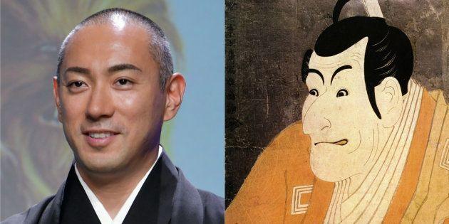 市川海老蔵さん(左)と東洲斎写楽