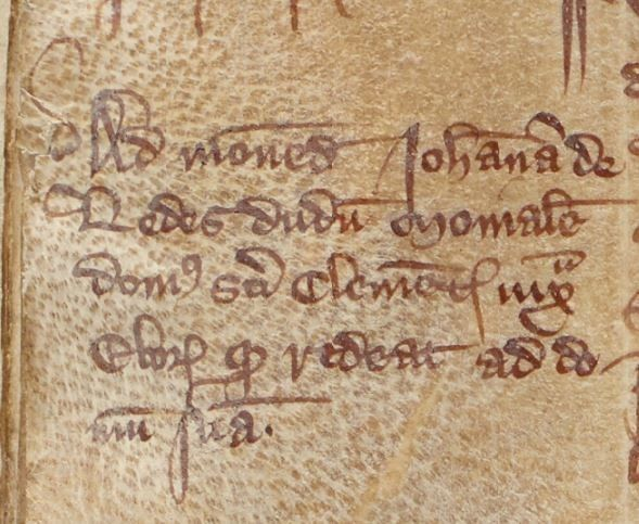 A close-up image of a marginal note in Latin about Joan of